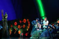 Wicked Witch of the West (Jacquelyn Piro Donovan, left) (CQ) and Dorothy (Danielle Wade, center right) perform in opening night of Dallas Summer Musicals The Wizard of Oz at Music Hall at Fair Park in Dallas, Texas, Wednesday, March 19, 2014.(Allison Slomowitz - Special Contributor)