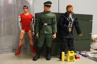 Vintage G.I. Joe's include Bullet Man, left, Action Man, center, and Adventure Team Hurricane Spotter, are shown at the Dallas Fort Worth G.I. Joe Collectors Club meeting at Frontiers of Flight Museum in Dallas, Texas, Wednesday, November 3, 2012.