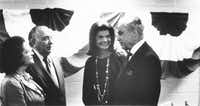 """Mayor Richard J. Daley (LEFT), an important Strauss ally in the Democratic Party, and Jackie Kennedy Onassis with Helen (front left) and Bob Strauss (front right) at the 1976 Democratic National Convention.""""( Helen Strauss Scrapbook Collection  -  Digital File_UPLOAD )"""