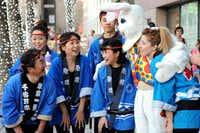 Japanese drum band Dallas Kiyari Daiko made friends with the Easter Bunny at the annual Spring Block Party in the Arts District in Dallas on Friday.(Alexandra Olivia - Special Contributor)