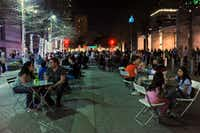 The Spring Block Party galleries were packed both inside and out in the Arts District on Friday evening in Dallas.(Alexandra Olivia - Special Contributor)