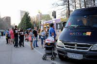 Food trucks were part of the fun at the annual Spring Block Party on Friday night in Dallas' Arts District.(Alexandra Olivia - Special Contributor)
