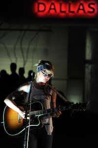 Local Dallas musician Madison King played a late-night set at the annual Spring Block Party in the Dallas Arts District.(Alexandra Olivia - Special Contributor)