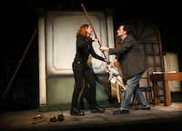 "Amphibian Stage Productions presents ""The Understudy"" by Theresa Rebeck (creator of TV's ""Smash""). It's about a theatrical understudy and his quarrels with his stage manager, who just happens to be his ex-wife. It stars Harry (Chuck Huber) in the title role and Roxanne (Sarah Koestner) struggle with one another in a scene. The dress rehearsal took place Wednesday, July 18, 2012."