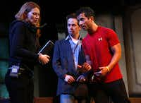 "Amphibian Stage Productions presents ""The Understudy"" by Theresa Rebeck (creator of TV's ""Smash""). It's about a theatrical understudy and his quarrels with his stage manager, who just happens to be his ex-wife. It stars Harry (Chuck Huber) in the title role, center, Roxanne (Sarah Koestner), left, as the disgruntled stage manager, and Jake (Carman Lacivita) as a movie actor perform a scene from the play. The dress rehearsal took place Wednesday, July 18, 2012."