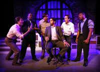 Jubilee Theatre presents Stephen Sondheim's COMPANY, Thursday July 19, 2012 in Fort Worth. Actors from left, Scott Sutton (Peter), Marcus M. Mauldin (Larry), Ben Phillips (Harry), Lloyd Harvey (Robert), Brad Stephens (Paul) and William Massey (David) perform a scene from the musical.