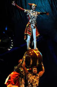 """Charivari house troupe performs on the opening night of Cirque du Soleil's """"Kooza"""" on Wednesday, Sept.  19, 2012 in Dallas."""