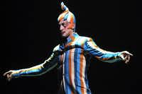"The Trickster, Jason Berrent, schemes his way through the performance on the opening night of Cirque du Soleil's ""Kooza"" on Wednesday, Sept.  19, 2012 in Dallas."