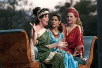 Laura Yancey, playing Valeria; Vanessa DeSilvio, playing Virgilia; and Cindy Beall, playing Volumnia; left to right, converse during an early scene in the Shakespearian tragedy, Coriolanus,