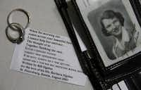 The couple's original wedding bands as well as a poem Bill wrote to Barbara are pictured next to a portrait that Bill has carried in his wallet for decades.( Steve Hamm  -  Special Contributor )