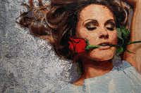 "A portion of 8-by-6-foot ""Beauty Rose"" is on display in Page's Dallas studio."