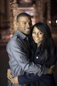 Devin Guinn, left, and Stacey Belvue had their first date on Valentine's Day, the day after their first meeting at Tarleton State University. They are photographed at the Galleria near their North Dallas apartment on Tuesday, February 26, 2013.