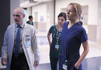 "This image released by Fox shows, from left, Zeljko Ivanek, Floriana Lima and Jordana Spiro in a scene from ""The Mob Doctor,"" premiering Sept. 17 at 9 p.m. EST on Fox."