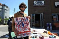 Dallas based artist Nevada Hill creates psychedelic band posters for sale at Good Records on Record Store Day in Dallas, TX on April 20, 2013.(Alexandra Olivia - Special Contributor)