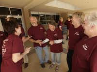 Members of the Plano High School class of 1965 great each other. The class will take part in several homecoming activities next week as part of their 50th reunion.( Jason Janik  -  Special Contributor )
