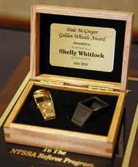 Shelly Whitlock was the eighth person to receive the Dale McGregor  Golden Whistle Award since 1999.(Staff photo by VERNON BRYANT - DMN)