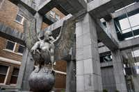 Angel Persélidas Monumental by Mexican sculptor Jorge Marín, is now on display at the courtyard of Saint Paul Place in Dallas as part of a multi-location exhibit of Marín's work.( Staff photo by KYE R. LEE   - Staff Photographer)