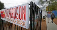 Richardson residents Bobby and Hillary Butler leaves the Richardson Food Truck Park on Saturday after having lunch. The food truck park, located in the city's Interurban district, is an early model for the type of edgy businesses city officials want to see take hold in the area.( Jae S. Lee  -  Staff Photographer )