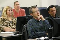 Larry Jones (center), a marine veteran, listens to his instructor. Collin College is one of 17 colleges in Texas to offer training programs for veterans as part of the Texas Workforce Commission's Veterans and Industry Partnership.( Staff Photo by Kye R. Lee  -  DMN )
