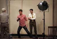 "Director Joel Ferrell (center) talks to Kieran Michael Connolly, (left) as Mark Rothko and Jordan Brodess as Ken in rehearsal for ""Red."""