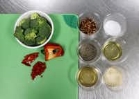Broccoli and other ingredients for Sesame Roasted Broccoli that Chef Nancy Maslonka prepares at Medical City Dallas Hospital in Dallas, TX, on March 5, 2013. Maslonka, executive chef of Medical City Dallas Hospital and Medical City Children's Hospital.(Kye R. Lee - Staff Photographer)