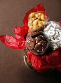 Goodies From Goodman offers a package of triple-chocolate-chip cookies, caramel nuggets and white frosted pretzels.