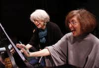 From left to right, a book writer and lyricist Mimi Turque and composer Nancy Ford participate in a rehearsal of Blue Roses together at Irving Arts Center in Irving, TX on January 8, 2014. Blue Roses is a brand new adaptation of The Glass Menagerie that will debut at Lyric Stage in Irving.