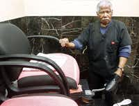 Jim Edwards, who operates a shoe-shining business at the Vintage Car Wash in Dallas , pictured on Jan 10, 2013.