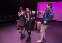 """Lulu Ward (Mrs. Samsa), John Flores (Mr. Samsa), center, and Ben Bryant (Cregor Samsa) perform a scene from """"Metamorphosis II"""" at the Bath House Cultural Center on Friday, July 11, 2014.  The play is part of Festival of Independent Theatres.(Rex C. Curry - Special Contributor)"""