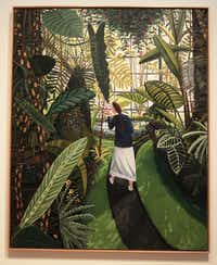 """This oil on canvas is titled, """"The Conservatory,"""" 1989, by Dallas artist David Bates. The Modern Art Museum of Fort Worth and the Nasher Sculpture Center, Dallas, present a joint exhibition of his work on view February 9th through May 11, 2014. The exhibition is a retrospective of Bates's work installed in both locations with an emphasis on painting in Fort Worth and sculpture and works on paper in Dallas. This is the first collaboration between the two museums. Shot on Wednesday, February 12,2014."""