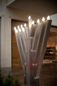The menorah is set up at NorthPark Center for the 2011 lighting.
