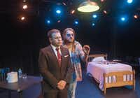 """Chad Cline (Paley), left, and Jared Culpepper (Dawkins) perform a scene from """"The Watch"""" at the Bath House Cultural Center on Friday, July 12, 2014.  The play is part of Festival of Independent Theatres.(Rex C. Curry - Special Contributor)"""