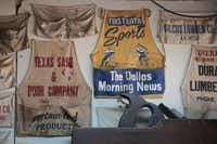 Some of Lynn Dowd collection of aprons at Dowd's Vintage and Antique Tools in Garland September 12, 2012.