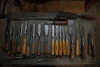 Some of Lynn Dowd collection of chisels at Dowd's Vintage and Antique Tools in Garland September 12, 2012.