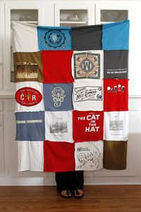 A throw blanket made from old T-shirts took two hours to put together. She used an album cover to guide her in cutting around the logo of each shirt.