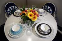Gehan's tableware designs feature vivid graphic patterns.Kye R. Lee  -  Staff Photographer