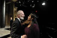 "Brian McEleney and Christie Vela in ""King Lear,"" a co-production presented by the Dallas Theater Center and Trinity Repertory Company in Rhode Island."