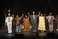 Shown here, left to right at curtain call: Calvin Roberts (King), Ashley Duplechain (Villager), Charli Armstrong (Manyara), Ivan Jones (Mufaro), Rhianna Mack (Nyasha), Rick Spivey (Storyteller)appear in Mufaro's Beautiful Daughters, presented by Dallas Children's Theater.