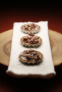 Pecan Salty Caramel Tartelettes, wooden cake pedestal: World Market.