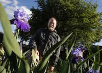 Michael Reed is president of the Dallas Iris Society and has been working on a, public iris garden for more than a year. photographed during the the national iris convention at the iris garden in Addison on April 18, 2013.