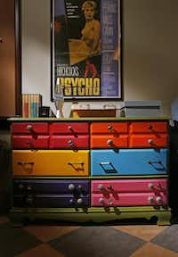 Colorful drawers with vintage pulls and a Psycho poster contribute to the classroom's lounge vibe.( Kye R. Lee  -  Staff Photographer )