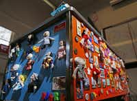 Townsel's student volunteers gave her desk a bright coat of paint on the sides, embellished with the teacher's sizable refrigerator magnet collection.( Kye R. Lee  -  Staff Photographer )