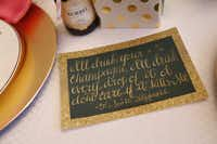 Smrekar called on a college friend with a penchant for calligraphy to create cards with quotes about champagne (from F. Scott Fitzgerald to Carey Mulligan) at each place setting.