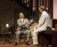 """Hassan El-Amin (Hoke Cleburne) left, and James Crawford (Boolie Werthan) perform in a scene from Dallas Theater Center production of """"Driving Miss Daisy on Tuesday, Oct. 21, 2014.( Rex C. Curry  -  Special Contributor )"""