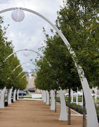 Arches on the Jane's Lane walking path at Klyde Warren Park in Dallas, TX on October 22, 2012.