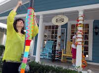 Sally Ackerman worked on one of her yarn creations at the Shabby Sheep earlier this week. The pieces will be part of a yarn bombing for the opening of Klyde Warren Park.
