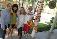 Sharon Miller, Sally Ackerman, Ronda Van Dyk and Lurline Russell are among the volunteer corps of Dallas yarn bombers volunteers.