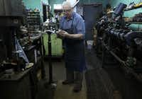 Jimmy Velis is an old-school cobbler with a shop on Lovers Lane in Dallas. He and his wife Andreanna Velis run Deno's, using old school machinery and tools.