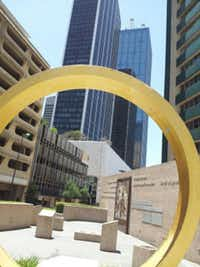 The Ring of Thanks and Bell Tower at Thanks-Giving Square in downtown Dallas.