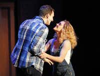 """""""Ghost: the Musical,"""" now onstage as part of the Dallas Summer Musicals, stars Steven Grant Douglas  and Katie Postotnik."""